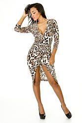 Leopard Front Slit Midi Dress