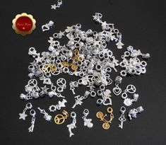 Wholesale 98 Alloy European Dangle Beads, Large Hole Beads, Mixed Shape, Mixed Color, Charms for Jewelry, Silver & Gold Beads, Supplies
