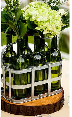 wine bottle vases! Yes, i better start working on getting the vases empty ;)