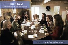 The Stone Soup Company is ne of our favorite lunch choices! That's why we have Soup Day every week :-). Her ewe are enjoying their famous seafood bisque  #corwindesign #soupday