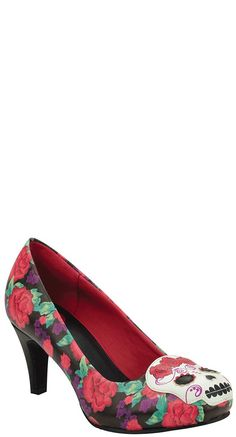 T.U.K. Shoes Floral Sugar Skull Anti Pop Heel | Blame Betty Love these and the have an Anti Pop Heel - I wonder if that'd work for me?
