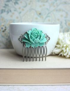 Opal Green Large Rose Statement Hair Comb. Green Wedding Ideas.