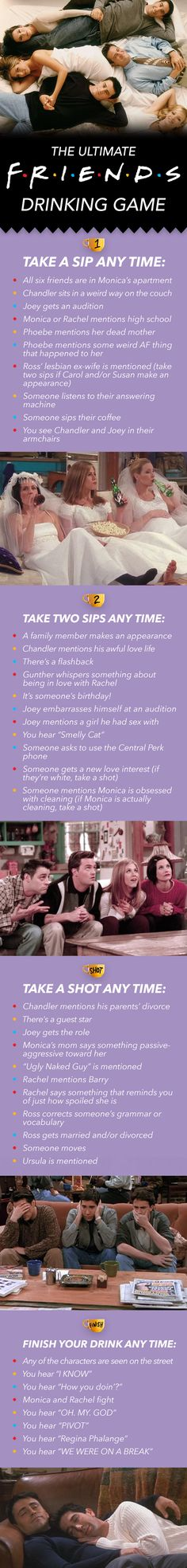 "The Ultimate ""Friends"" Drinking Game…must show Jenny! Lol The Ultimate ""Friends"" Drinking Game…must show Jenny! Friends Drinking Game, Drinking Games For Parties, Movie Drinking Games, Christmas Drinking Games, Friends 1994, Funny Friends, Friends Girls, Friends Tv Show Gifts, Drunk Friends"