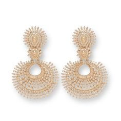 This pair of earrings is crafted in 18 K gold and set with baguettes and round brilliant diamonds.