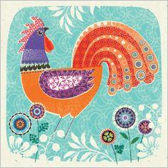 Morning Call by Clare Maddicott Rooster Art, Paint Cards, Chicken Art, Wool Art, Bird Illustration, Mundo Animal, Naive Art, Little Birds, Surface Pattern Design