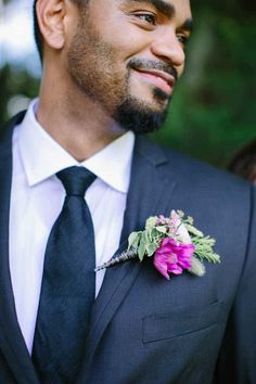Purple Boutonniere by Atmospheres Floral & Decor-Elegant Purple and Green Wedding Inspiration at the Luxmore Grande Estate - Central Florida Wedding - Photo: Brittany Bishop Photography- Orange Blossom Bride - www.orangeblossombride.com - click pin for more