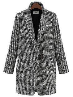 Houndstooth Tweed Wool Long Sleeve Women Trench Coat