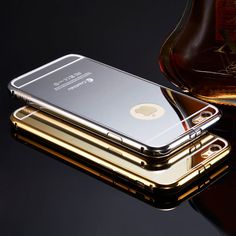 Luxury Aluminum Ultra-thin Mirror Metal Case Cover for iPhone 5 5s 5c SE 6 6s plus 7 Plus //Price: $14.27// #gadgets