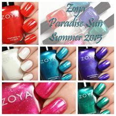 Zoya Summer 2015 - Paradise Sun collection nail polish swatches via @alllacqueredup