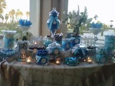 white and blue wedding candy buffet