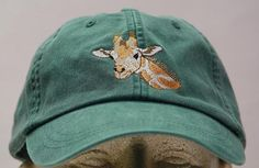 GIRAFFE HAT  One Embroidered Wildlife Cap  Price by priceapparel, $17.95