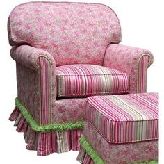 pink and green chair upholstery Pink Furniture, Upholstered Furniture, Chair Upholstery, Chair Cushions, Cozy Chair, Green Home Decor, Cottage Chic, Cottage Ideas, Cottage Style