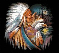 Free Native American Cross Stitch | Native American WoLf EagLe Cross Stitch Pattern***L@@K*** for sale in ...