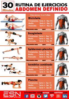 Abdomen definido/Rutina de Ejercicios de 30 minutos, siguiendo el enlace encontrarás más vídeos con ejercicios de abdominales.
