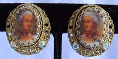 Antique Earrings Victorian Woman Painted Portrait Gold Tone W. Germany Clip On