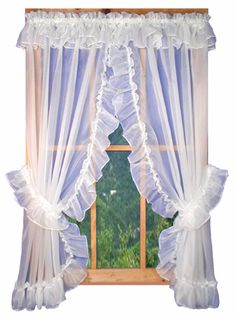 Timeless Jessica white sheer ruffled priscilla curtains with attached top ruffle hang easily and easy care fabric Cottage Curtains, Kitchen Window Curtains, Kitchen Window Treatments, Country Curtains, Ruffle Curtains, White Curtains, Valance, Priscilla Curtains, Window Toppers