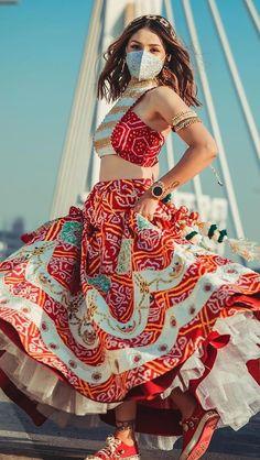 Indian Bridal Outfits, Indian Designer Outfits, Frock Fashion, Fashion Outfits, Women's Fashion, Navratri Dress, Garba Dress, Lehenga Saree Design, Afro