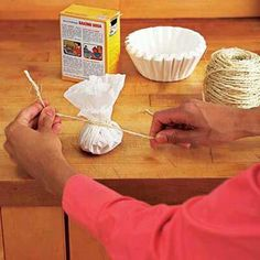 Place baking soda in a coffee filter, tie closed with string and place in refrigerator to absorb odor.