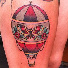 """hot air balloon- Ashley Love @ thicker than water tattoo Seriously considering a hot air balloon tattoo with a quote simular or equal to """"the farsighted see better things"""" Time Tattoos, Tattoo You, Hand Tattoos, Sleeve Tattoos, Cool Tattoos, Traditional Ink, Traditional Tattoo Flash, Air Balloon Tattoo, Hot Air Balloon"""