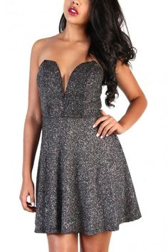 Fit And Flare Dress With Plunge V Neck - Glitter Black/Silver
