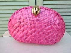 Vintage Hot pink Wicker Sea Shell Purse handbag by glamtownvintage, $20.00