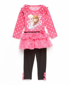 Loving this Pink 'Elsa & Anna' Ruffle Tunic & Leggings - Toddler on #zulily! #zulilyfinds
