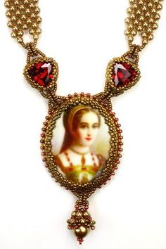 Art To Wear Necklace utilizes an oval porcelain cameo with image reproductions of woman from Renaissance and Victorian paintings. These little works of art provide the centerpiece of this design. A straightforward beaded bezel frames the cameo giving the centerpiece an old-world look. Two CZ trillions are bezeled and attached to the centerpiece and the necklace using beaded jump-rings. The necklace is Right-Angle-Weave with pearls ending in two beaded ball closures.
