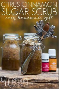 Cinnamon Citrus Sugar Scrub and easy handmade gift idea by Unskinny Boppy