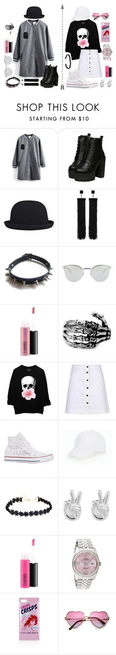 """Couple set (2)"" by hien-anhhs on Polyvore featuring kangol, Tom Ford, WithChic, Fendi, MAC Cosmetics, STELLA McCARTNEY, Converse, Talbots, Rock 'N Rose and Rolex"