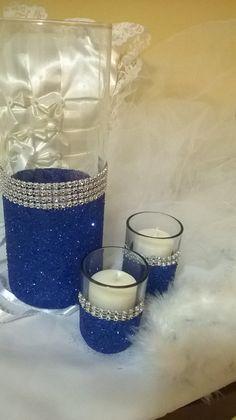 royal blue glitter vase wedding centerpiece by 1DesignCrafts