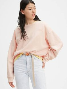 a crewneck sweater with a vintage fit garment-dyed for a soft, lived-in feel dropped sleeves features a logo Peach Blush, Loose Jeans, Crew Neck Sweatshirt, Crewneck Sweater, Cotton Fleece, Unisex, Ugly Sweater, Bell Sleeve Top, Sweatshirts