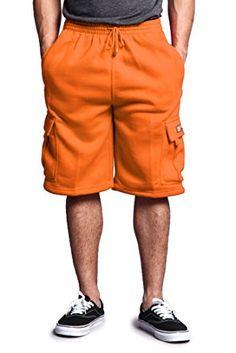 7069135e1a G-Style USA Men's Solid Fleece Cargo Shorts DFP1 – ORANGE – Medium Review
