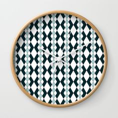 Turquoise Diamond Wall Clock | Fox and Ivy Studios | Home Decor