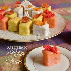 Autumn Petits Fours;  recipes for cake, three fillings - pumpkin spice, cranberry, maple --  and glaze.