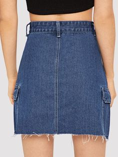 To find out about the Pocket Side Raw Hem Denim Skirt at SHEIN, part of our latest Denim Skirts ready to shop online today! Denim Mini Skirt, Mini Skirts, Skirts For Sale, Cotton Style, Street Style Women, High Waisted Skirt, Womens Fashion, Casual, Shopping
