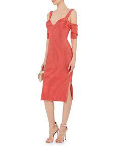 Victoria Beckham Orange Cold Shoulder Ribbed Knit Dress