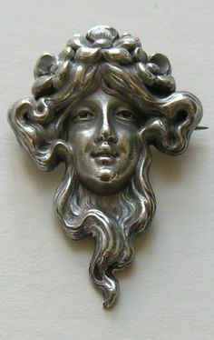 Kerr Art Nouveau Lady and Flowers Sterling Brooch ~ETS #artnouveau #brooch #face #sterlingsilver