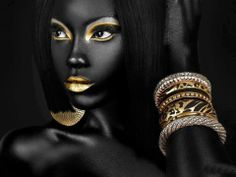 Gold lips and eyes