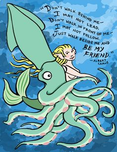 Friendship Greeting Card, Giant Squid, Mermaid, and Camus quote, 5x7, Blank via Etsy