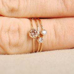 $154.00 Sparkling Threads of Gold - Set of Three Tiny Stack Rings with 14k Gold Set Faceted Stones - Delicate