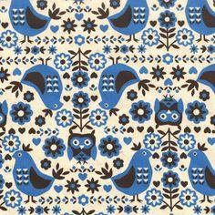 Items similar to Kokka Fabric linen canvas, Trefle Scandinavian Bird Floral Natural, 1 yard on Etsy Motifs Textiles, Textile Patterns, Print Patterns, Owl Patterns, Textile Design, Scandinavian Pattern, Scandinavian Folk Art, Purl Bee, Fabric Birds