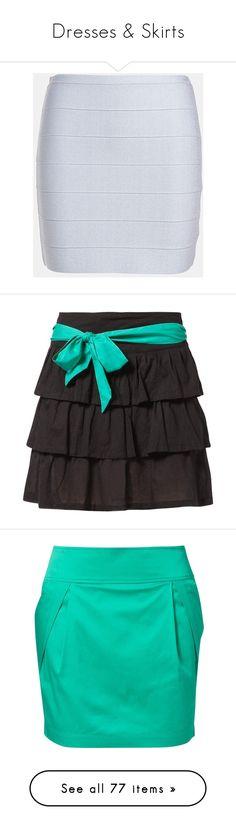 """Dresses & Skirts"" by alysfashionsets ❤ liked on Polyvore featuring skirts, mini skirts, bottoms, pants, silver, stretchy mini skirts, bb dakota, bandage skirt, short skirts and stretchy skirts"