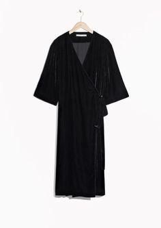 & Other Stories image 1 of Velvet Wrap Dress in Black