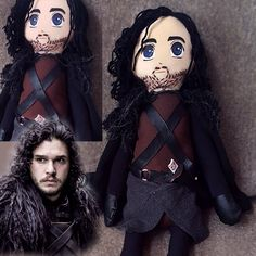 Jon Snow doll, Game of Thrones character figure, handmade doll for GOT fans