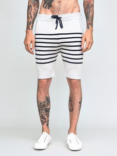 Jesse Knit Stripe Shorts Grey