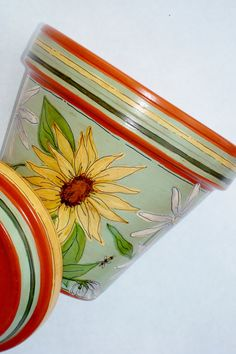 Hand Painted 8 Inch Terra Cotta Pot Sage by ThePaintedPine on Etsy, $34.00