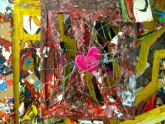 Canvasbcut up and wired back together heart made of pva and paint