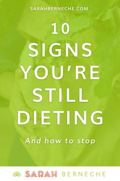 Intuitive eating, emotional eating, binge eating, recovery warrior, body positive, health at every size, anti-diet. 10 Signs you're still dieting and how to stop.
