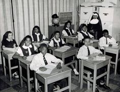 Sister Wilhelmina Lancaster with grades 6 & 7 at Christ the King in 1957.
