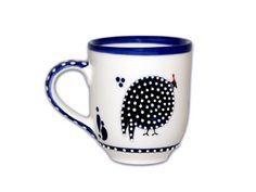 Guinea Fowl Coffee Mug, Dragana Jevtovic Ceramics  www.draganajevtovicusa.com  #guineafowl #capetown #southafrica #draganajevtovic #cobalt #mug #coffee